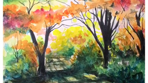 #WorldWatercolorGroup - Watercolor landscape painting by Lino Reynaldo De Leon - #doodlewash