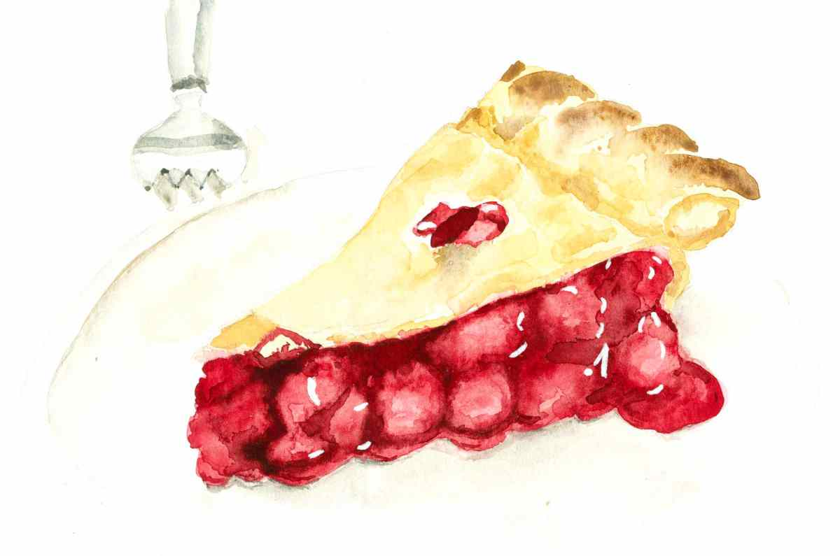 #WorldWatercolorGroup - Watercolor illustration of cherry pie by Jody Linn - #doolewash