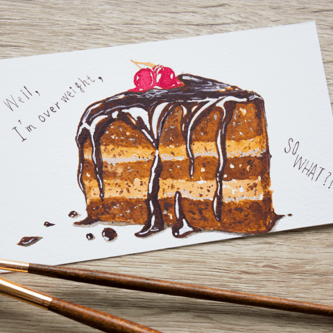 #WorldWatercolorGroup - watercolor sketch by Keiko Weafer Japan of chocolate cake - #doodlewash