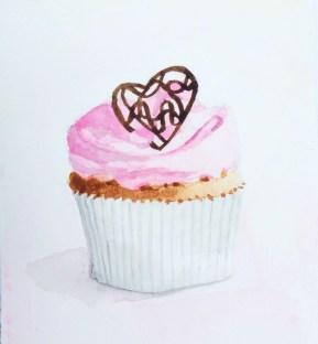 #WorldWatercolorGroup - Watercolor illustration of cupcake by Jody Linn - #doolewash