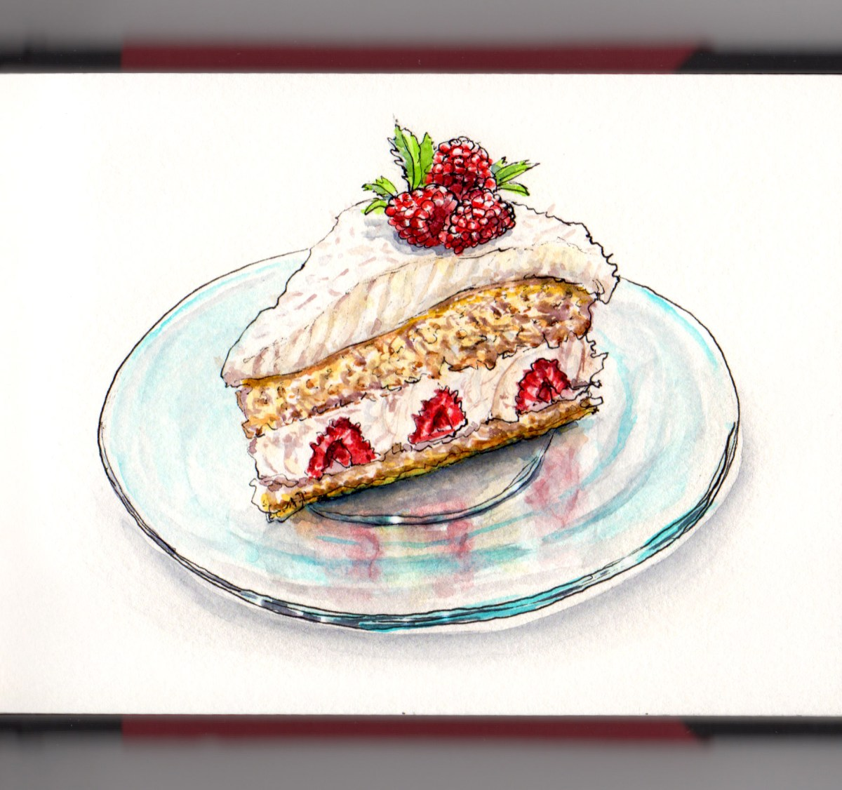 Day 12 - #WorldWatercolorGroup Christmas Cake raspberries and white chocolate gâteau framboise-coco-chocolat blanc - #doodlewash