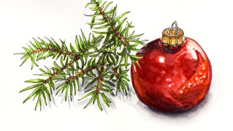 Day 15 - #WorldWatercolorGroup O Christmas Tree Red ornament and christmas tree branch fir
