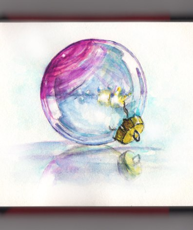 Day 19 - #WorldWatercolorGroup Holiday Ornaments Glass Ornament pink blue gold watercolor painting