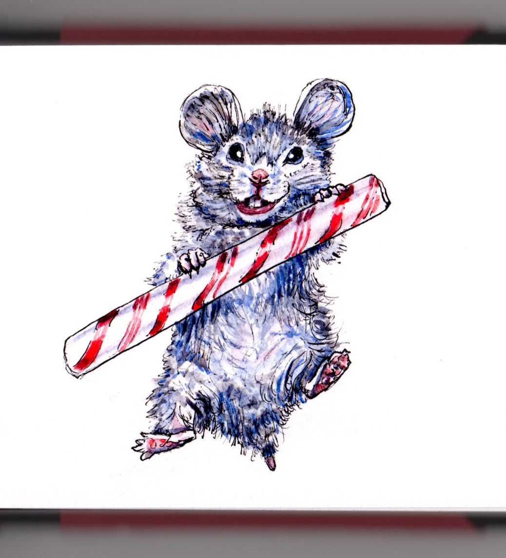 Day 6 - #WorldWatercolorGroup Holiday Christmas Mouse with candy cane