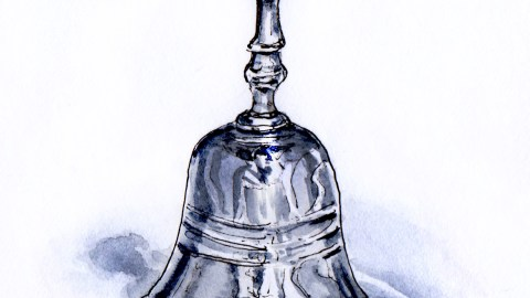 Day 7 - #WorldWatercolorGroup Silver Bells silver bell on white background holiday christmas