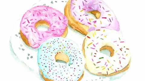 #WorldWatercolorGroup - Watercolor illustration of donuts by Jody Linn - #doolewash