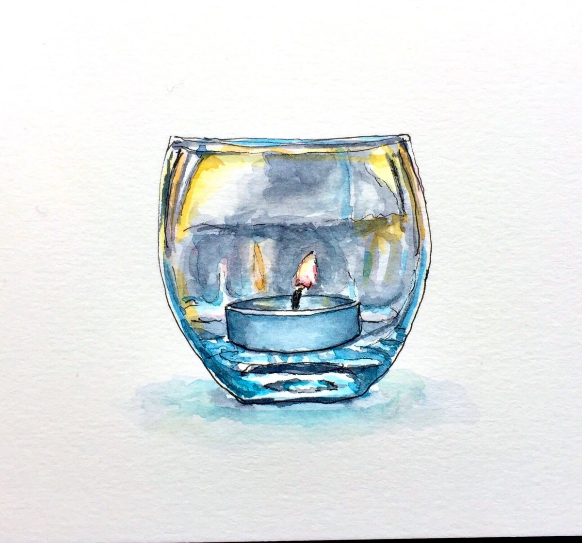 Day 4 - #WorldWatercolorGroup Candle Season glass votive watercolor white background