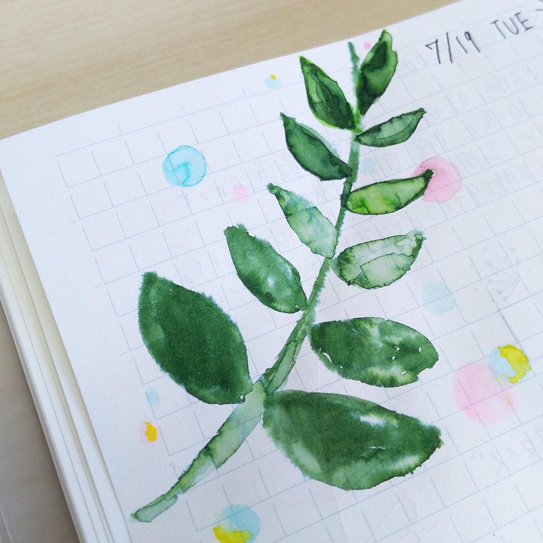 #WorldWatercolorGroup - watercolor sketch by Keiko Weafer Japan of leaves - #doodlewash