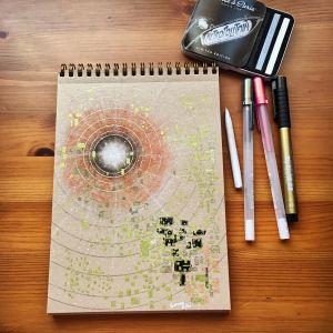 Conte crayon mandala by jessica seacrest, gelly roll pen, Pitt pen