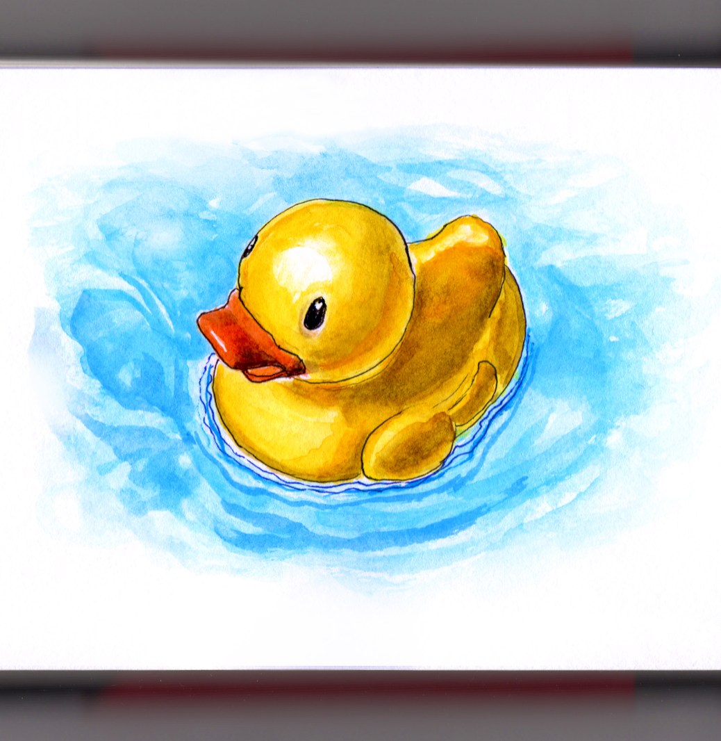 Day 12 - #WorldWatercolorGroup Rubber Duckie Rubber Ducky Duck in blue water Ernie