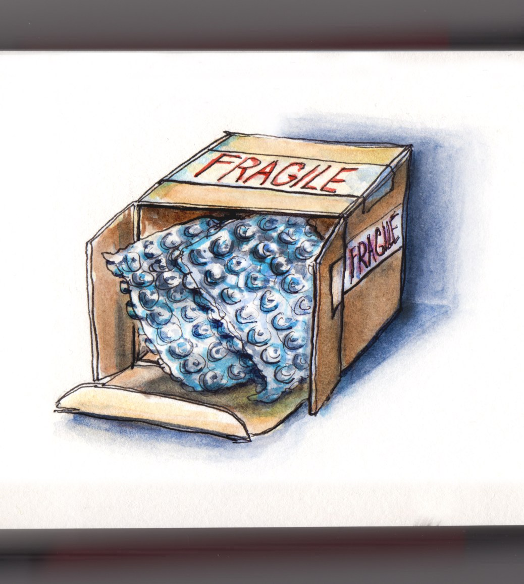 Day 30 - Popping Bubble Wrap in Fragile Box