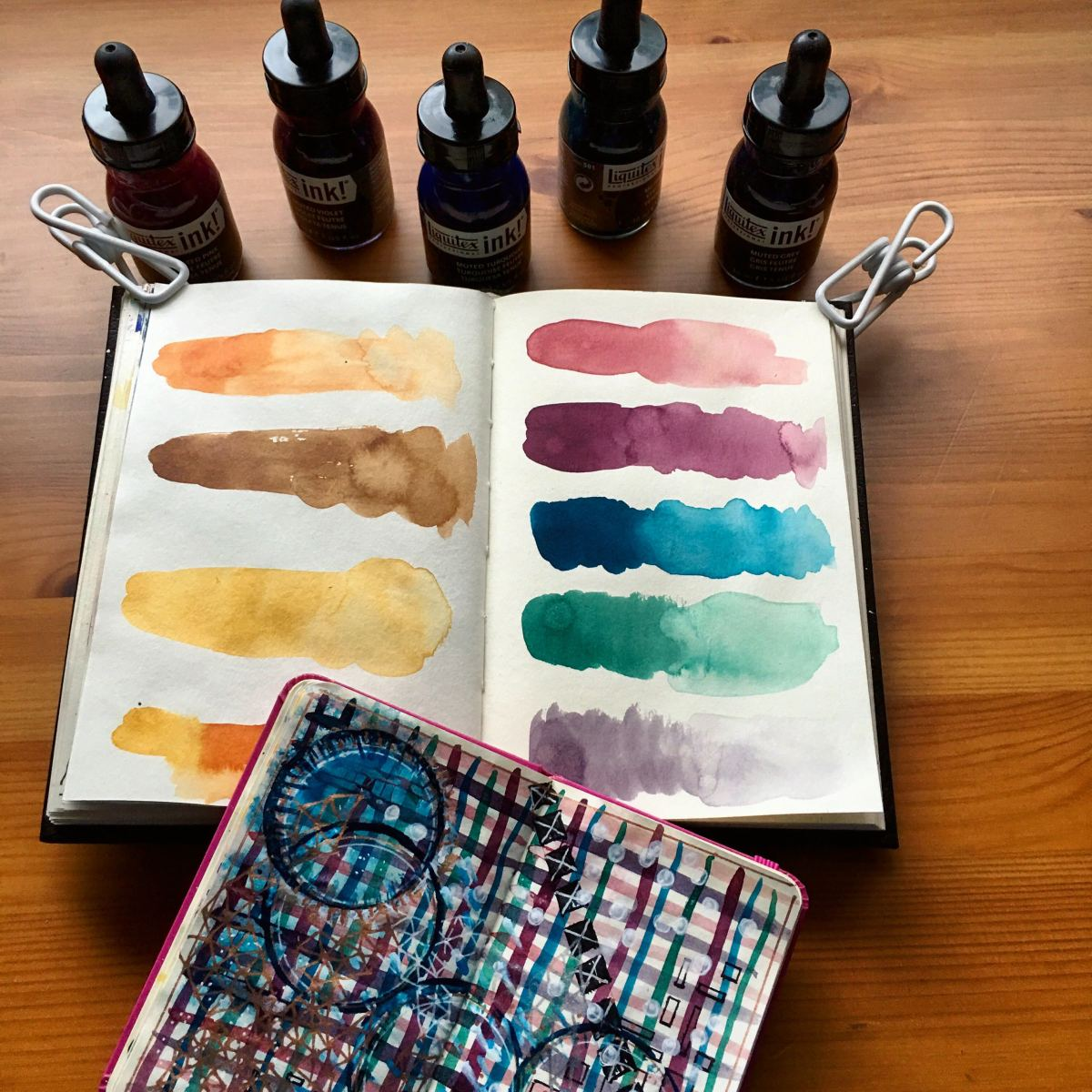 Liquitex Professional Acrylic Ink! Muted Collection and Transparent Set in a Stillman & Birn Gamma Series journal