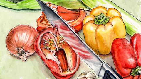 Day 21 - #WorldWatercolorGroup Eat Your Vegetables - Cutting Peppers With A Knife - #doodlewash