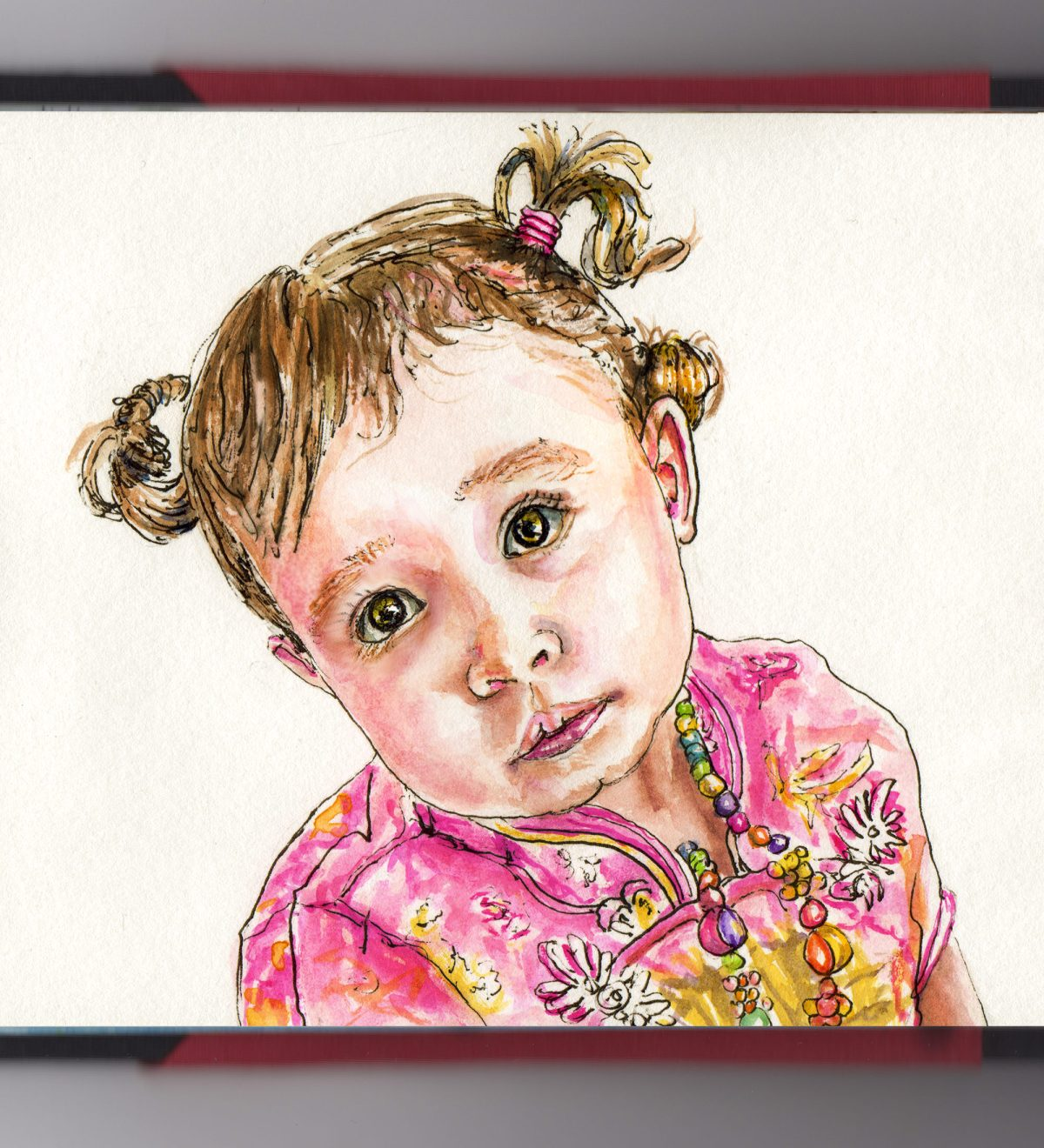 Day 23 - #WorldWatercolorGroup Face of a Little Girl Watercolor Portrait - #doodlewash