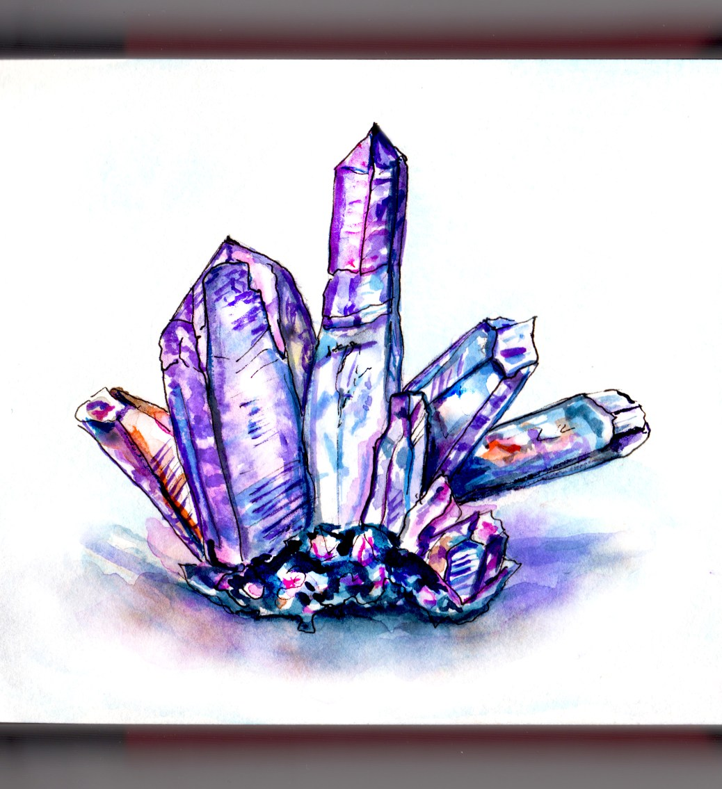 Day 26 - #WorldWatercolorGroup Colorful Crystals Speed Watercolor Illustration - #doodlewash