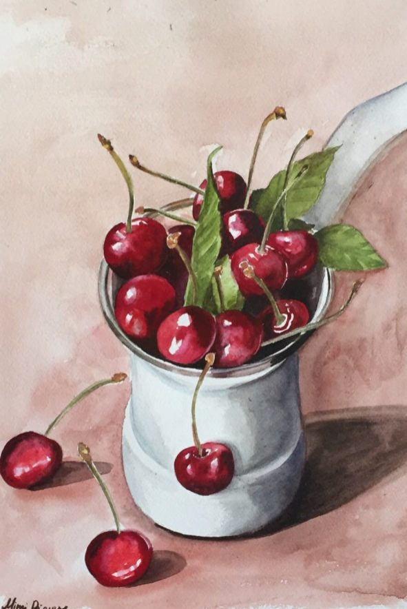 #WorldWatercolorGroup - Watercolor painting by Mimi Dimova of cherries - #doodlewash
