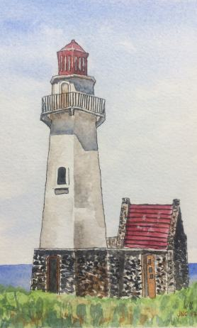 #WorldWatercolorGroup - Watercolor painting of lighthouse by Tamz Canete - #doodlewash