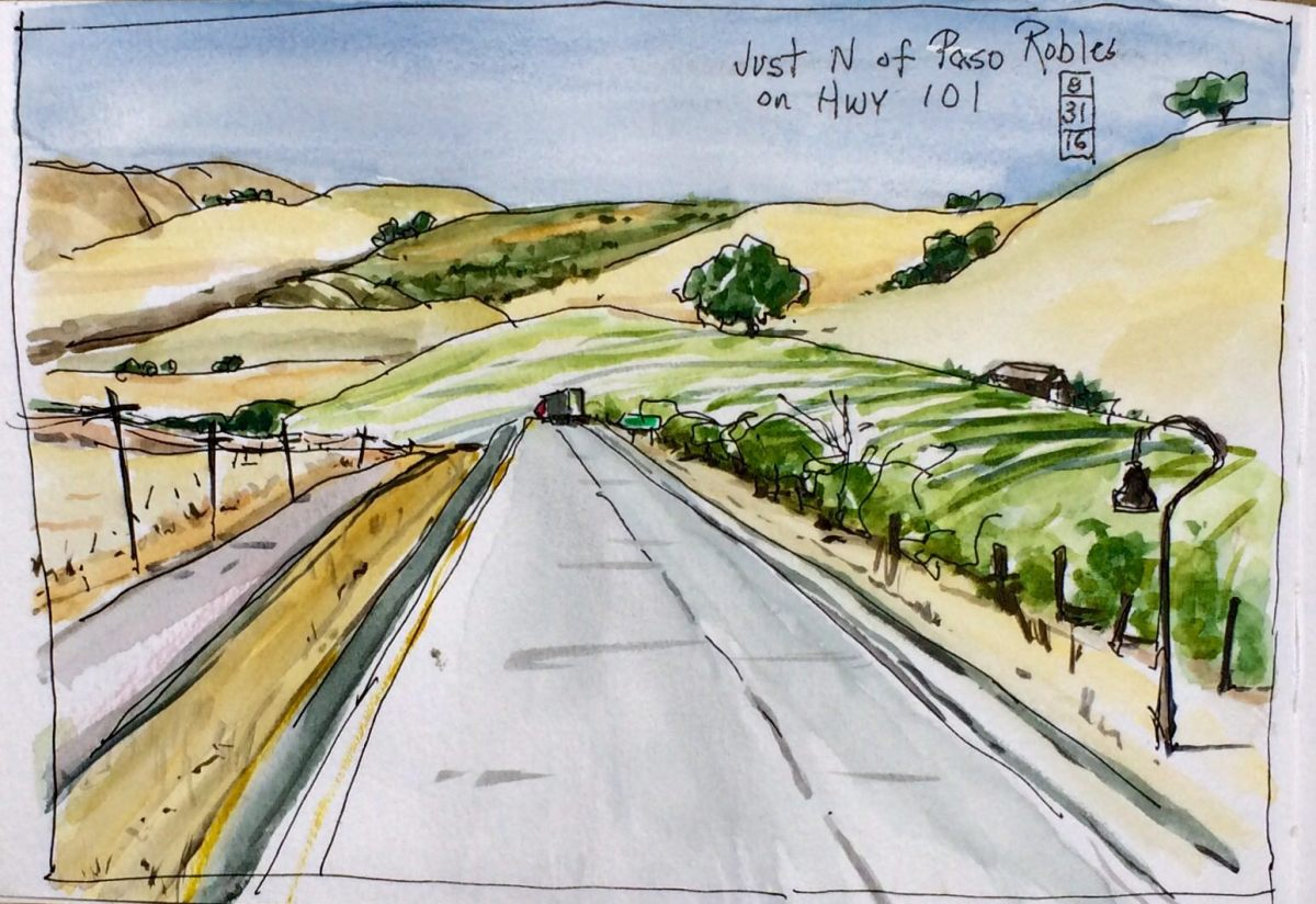 #WorldWatercolorGroup - Watercolor north of Paso Robles by Leslie Rich - #doodlewash