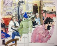 #WorldWatercolorGroup - Watercolor people in cafe by Leslie Rich - #doodlewash