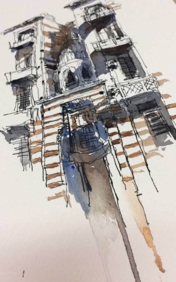 #WorldWatercolorGroup - Watercolor Sketch by Reham Moniem Ali in Egypt of building - #doodlewash #urbansketchers #usk