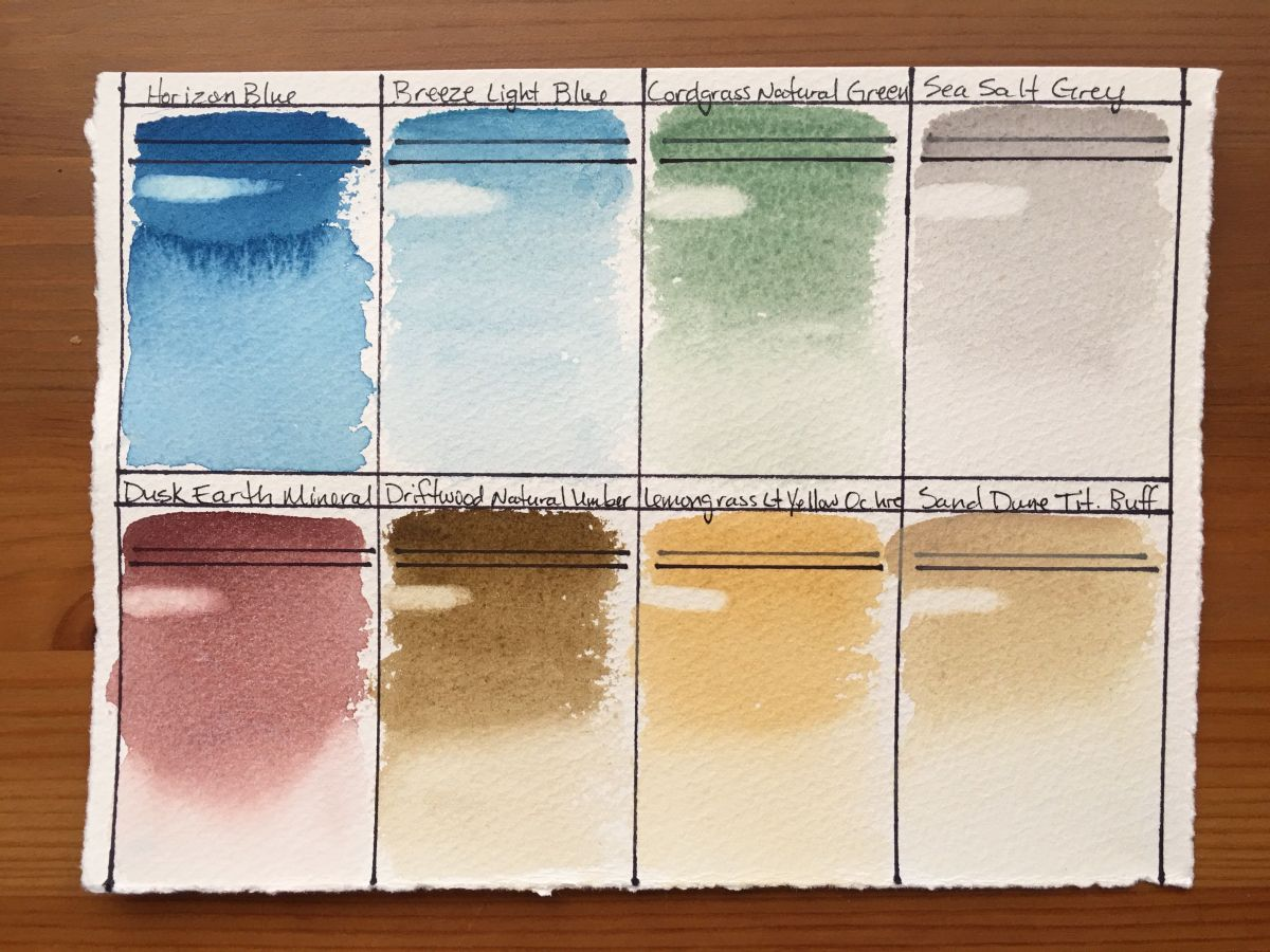 Anthesis Arts handcrafted watercolors coastal palette swatch