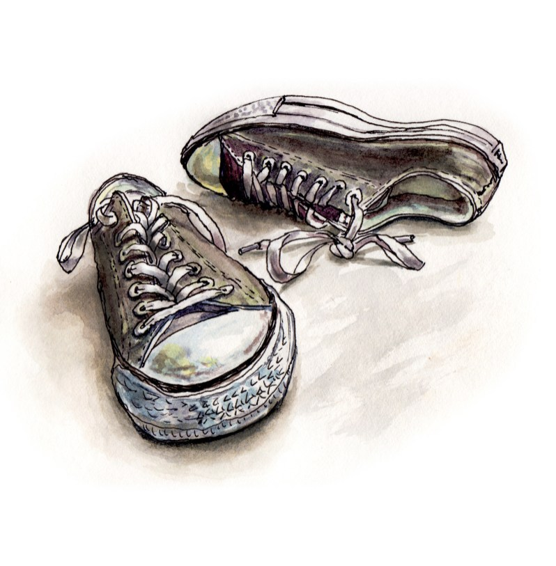 Day 1 - #WorldWatercolorGroup - Ordinary Days - Converse Chuck Taylor Sneakers - #doodlewash