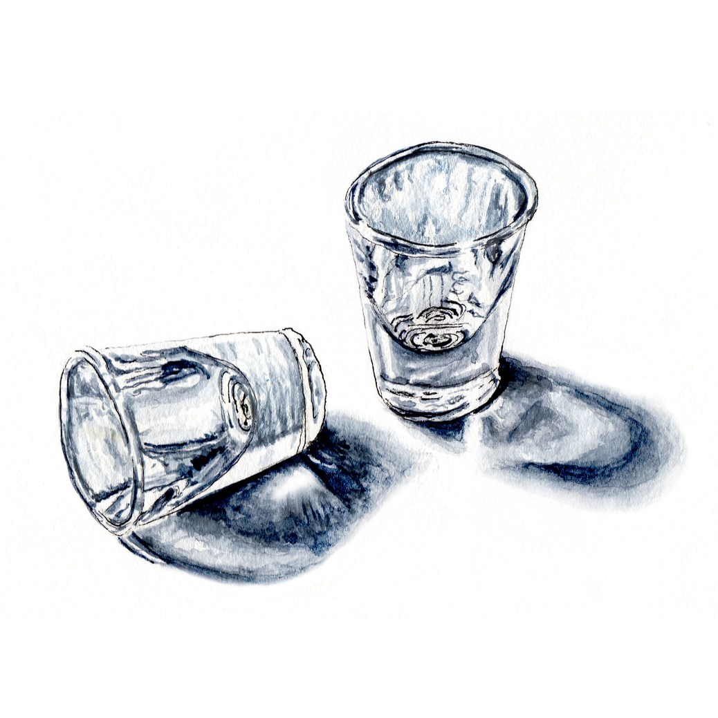 #WorldWatercolorGroup Day 11 - Black & White Monochromatic Watercolor of Two Glasses in Payne's Grey - #doodlewash