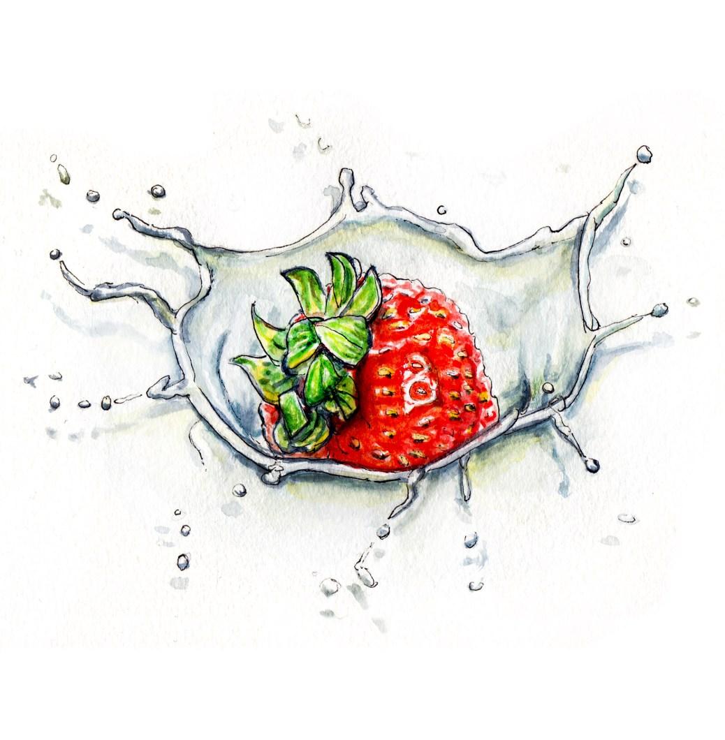Day 15 - #WorldWatercolorGroup - Strawberries and Cream Splash - #doodlewash