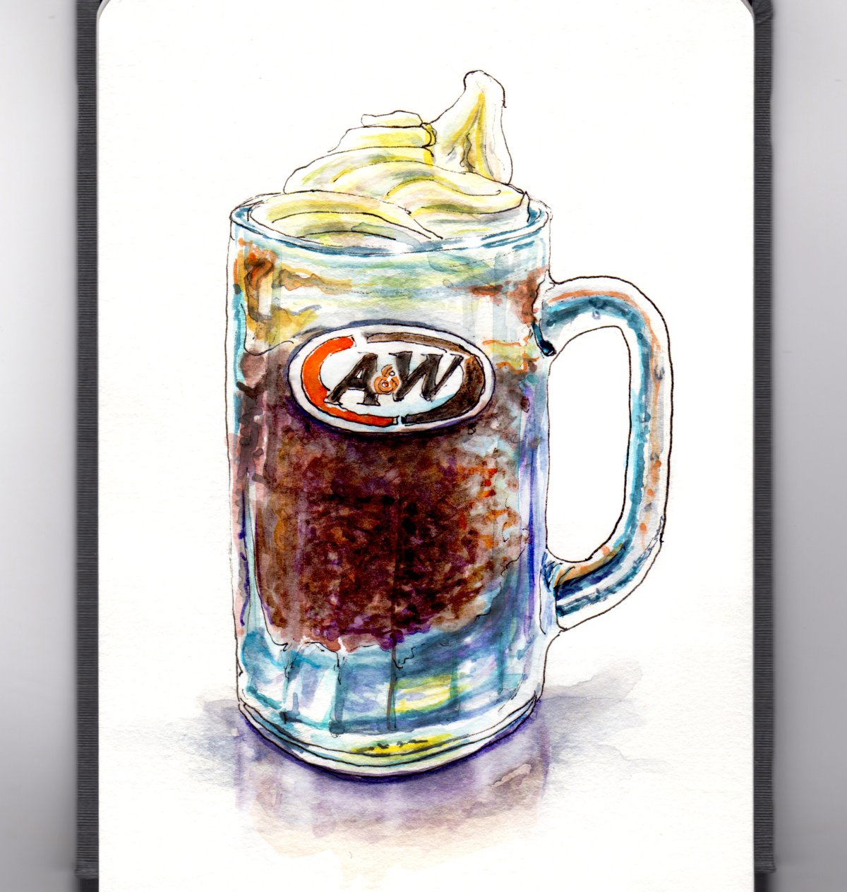 Day 21 - #WorldWatercolorGroup A&W Root Beer Mug Root Beer Float in Mug Watercolor - #doodlewash