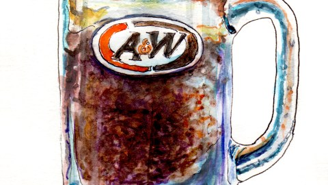 Day 21 - #WorldWatercolorGroup A&W Root Beer Mug Root Beer Float in Mug Watercolor - #doodlewash