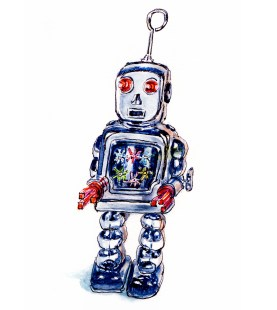 Day 31 - #WorldWatercolorGroup Metal Vintage Robot Watercolor Looking Toward The Future - #doodlewash