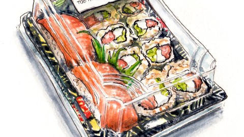 Day 6 - #WorldWatercolorGroup - Reflections on Sushi Grocery Store Bought Package Packaging - #doodlewash