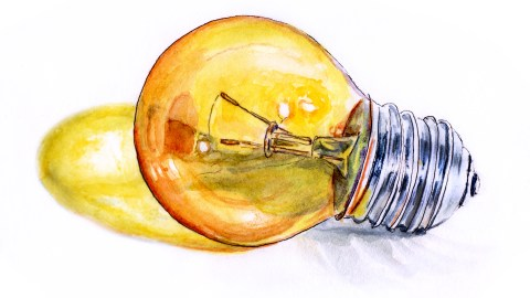 Day 9 - Light Bulb Moments Yellow Party Bulb Watercolor - #doodlewash