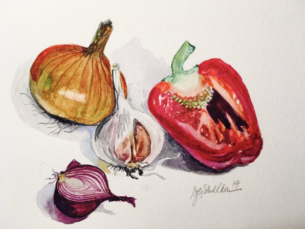 #WorldWatercolorGroup - Watercolor painting of vegetables by Rocelee F. Benedicto-Sheldon - #doodlewash