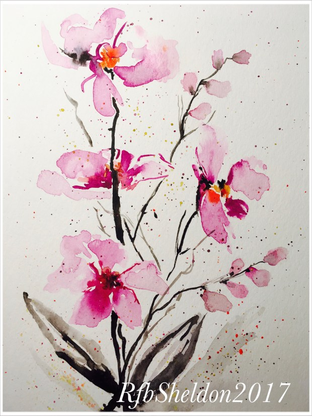 #WorldWatercolorGroup - Watercolor painting of pink flowers by Rocelee F. Benedicto-Sheldon - #doodlewash