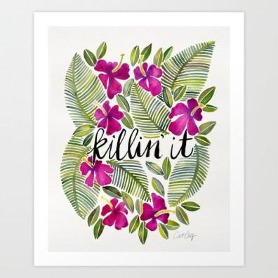 #WorldWatercolorGroup - Watercolor Art by Cat Coquillette - Killin' It Art Print - #doodlewash