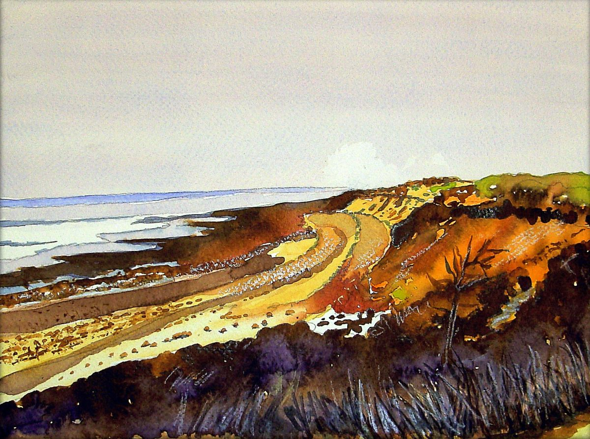 #WorldWatercolorGroup - Painting of seaside coast by Joaquim Tusch - #doodlewash