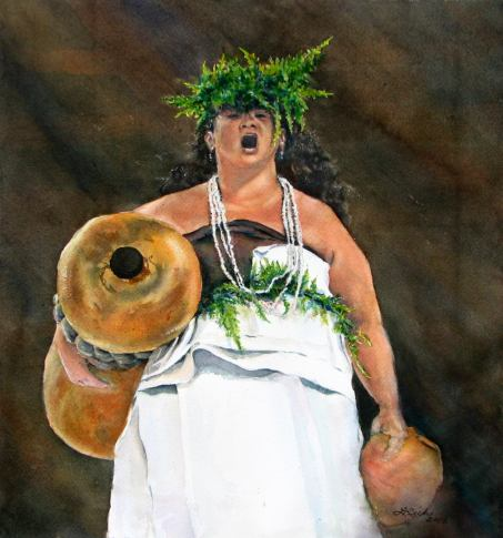 #WorldWatercolorGroup - Watercolor Kumu Hula by Leslie Rich - #doodlewash