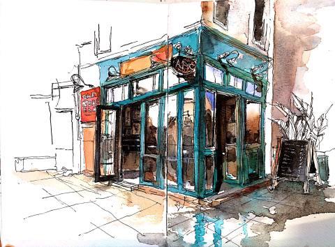 #WorldWatercolorGroup - Watercolor Sketch by Reham Moniem Ali in Egypt of building - #doodlewash #urbansketchers #usk