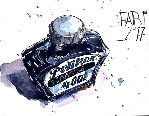 #WorldWatercolorGroup - Watercolor Sketch by Reham Moniem Ali in Egypt of bottle of pelikan ink - #doodlewash #urbansketchers #usk
