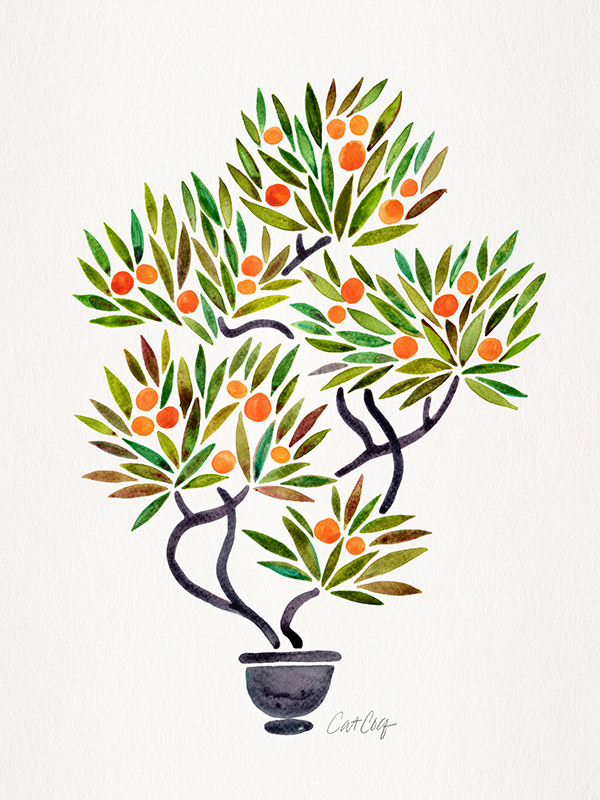 #WorldWatercolorGroup - Watercolor Art by Cat Coquillette - Bonsai Orange Tree - #doodlewash