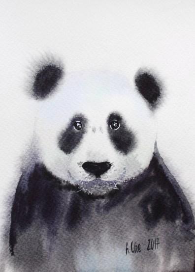 #WorldWatercolorGroup - Watercolor by Katiya Che of panda - #doodlewash