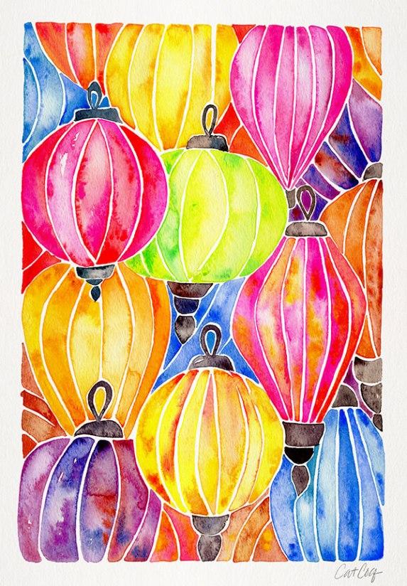 #WorldWatercolorGroup - Watercolor Art by Cat Coquillette - Rainbow Paper Lanterns - #doodlewash