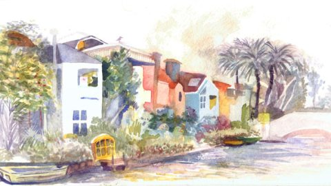 #WorldWatercolorGroup - Watercolor by Shiho Nakaza of Venice Canals - #doodlewash