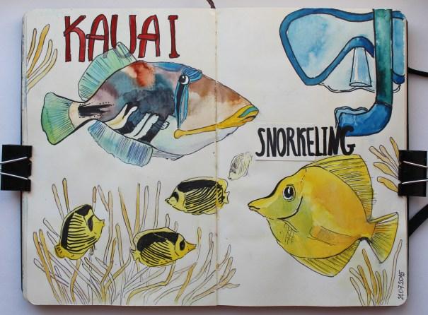 #WorldWatercolorGroup - Watercolor by Katiya Che of fish and snorkeling - #doodlewash