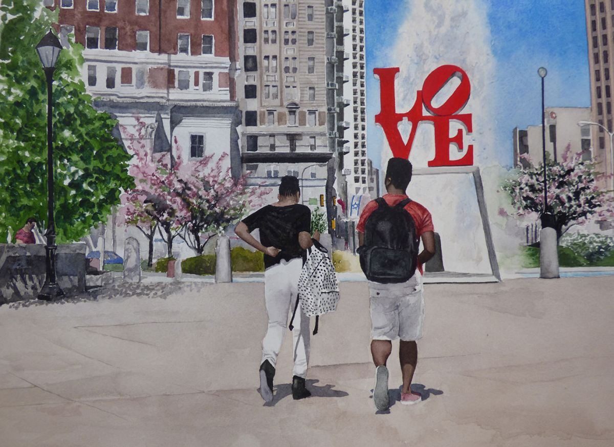 #WorldWatercolorGroup - Watercolor painting of springtime at Love Park by Ellie Moniz - #doodlewash