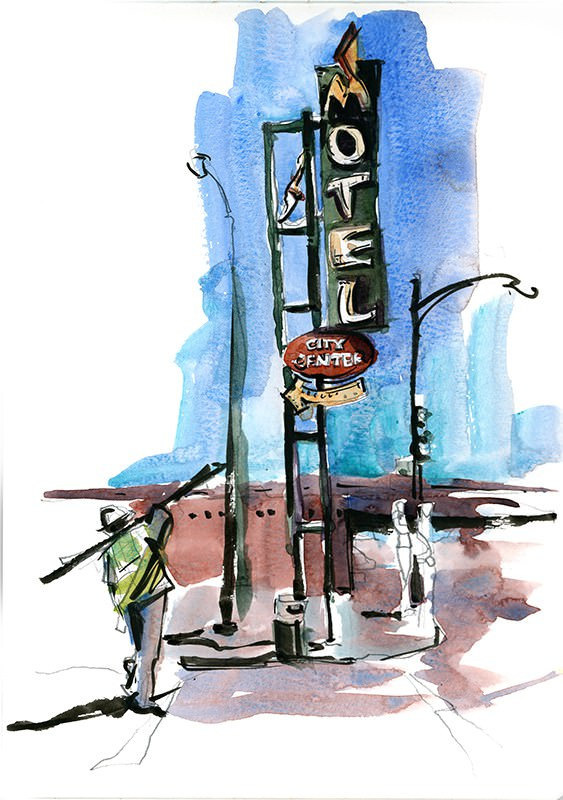Vintage Signs In San Jose, California by Suhita Shirodkar - vintagesignsanjose.com - #urbansketchers #usk - #doodlewash
