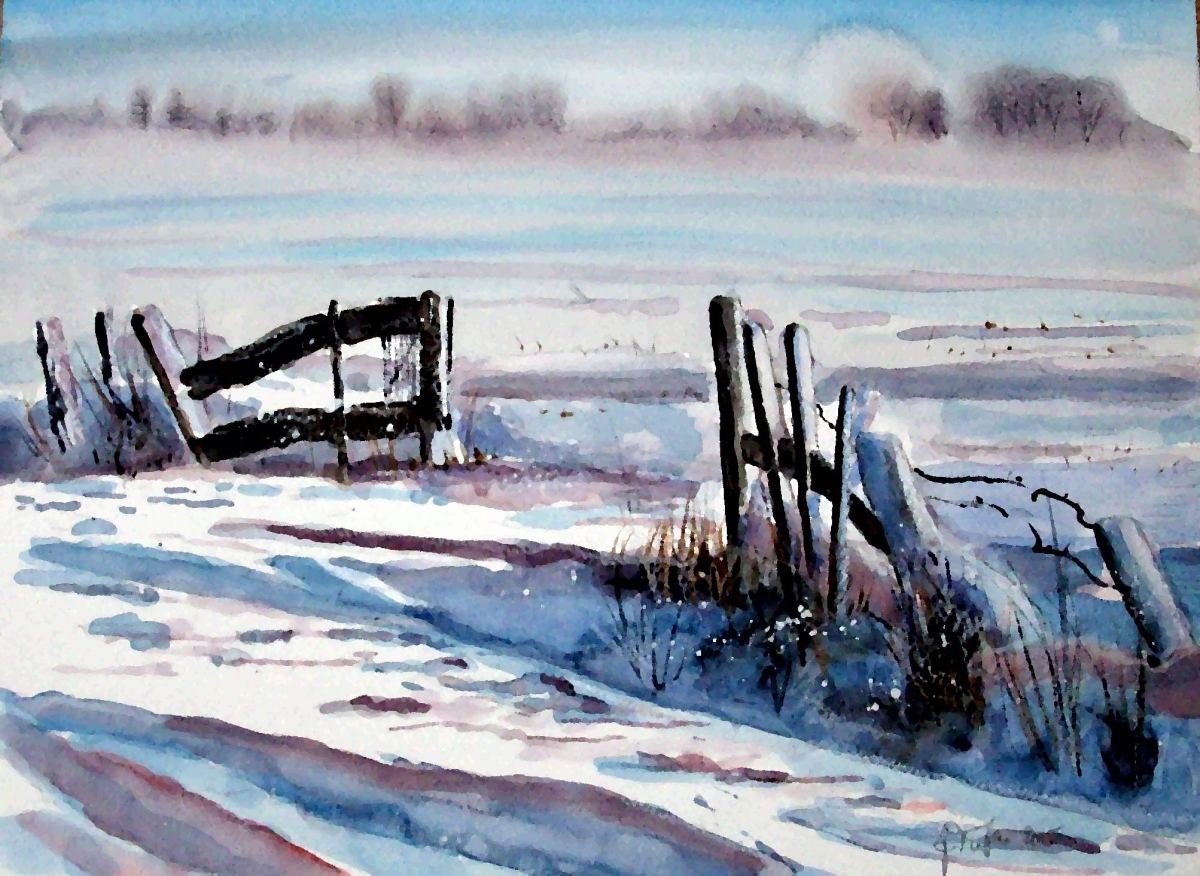 #WorldWatercolorGroup - Painting of winter in the country by Joaquim Tusch - #doodlewash