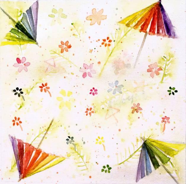 #WorldWatercolorGroup - Watercolor by Elisa Choi Ang - umbrellas - #doodlewash