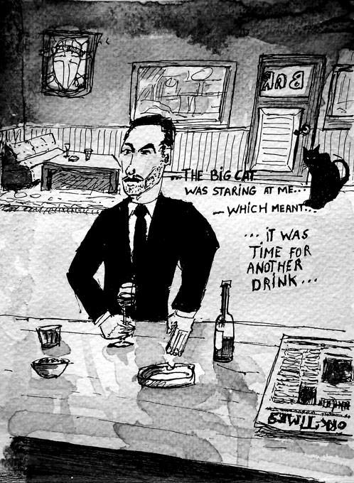 #WorldWatercolorGroup - Sketch by Tim Soekkha of cat drinks and noir - #doodlewash